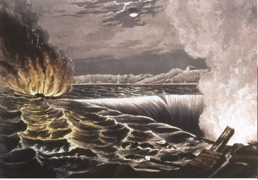 The flaming Caroline steamboat about to plummet off Niagara Falls. What a sight that would have been!
