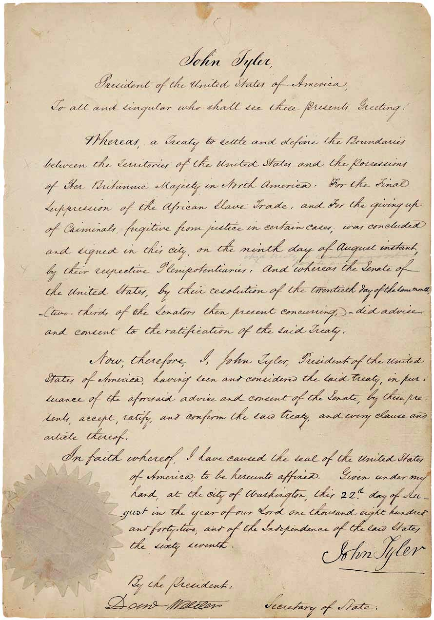 The Webster–Ashburton Treaty (August 9, 1842) - took you long enough!