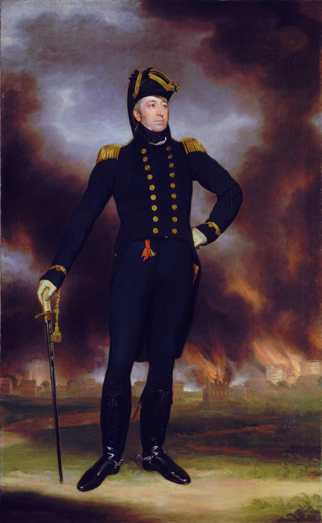 Rear-Admiral George Cockburn takes a break from watching Washington burn to the ground for a portrait.