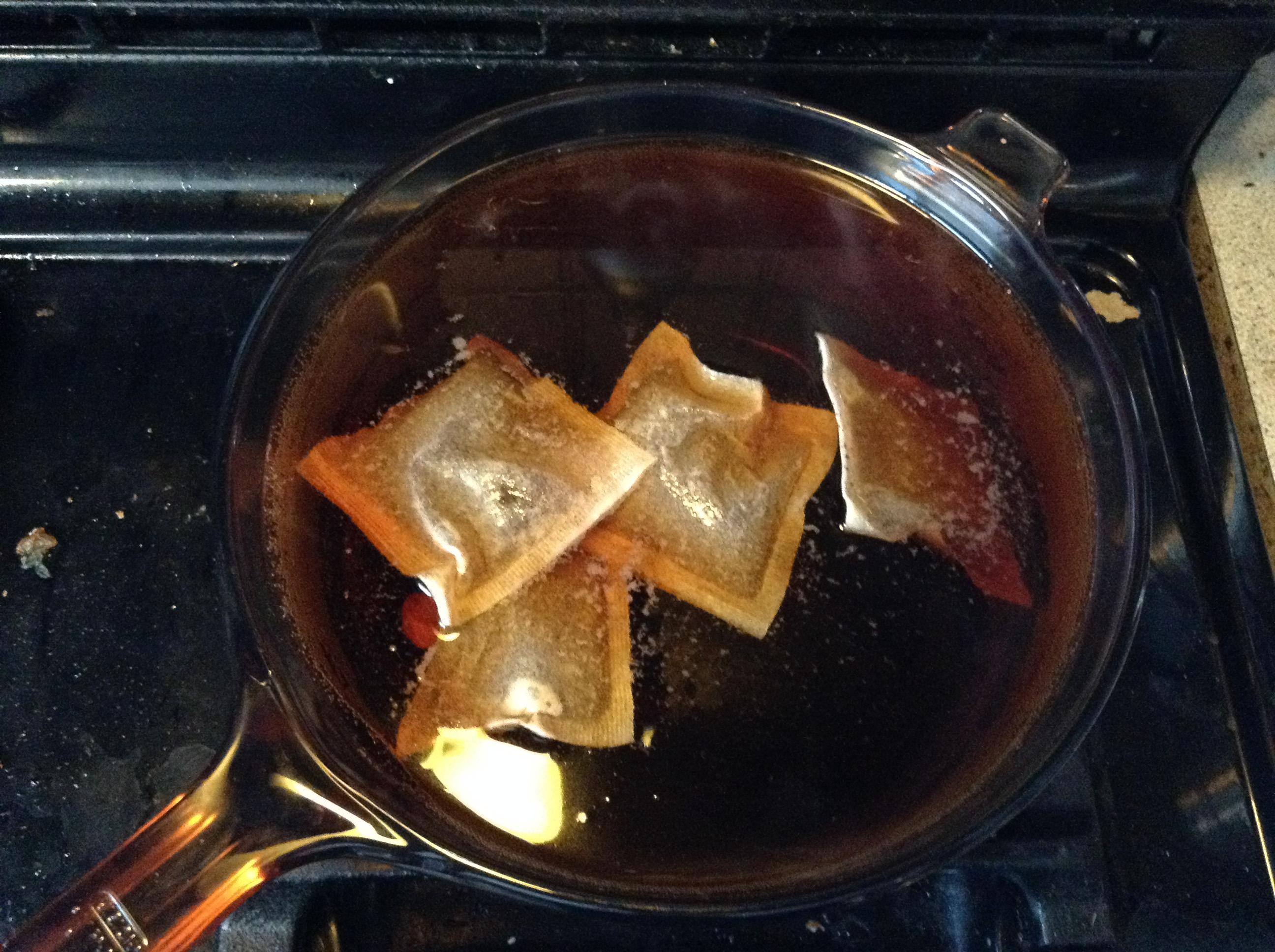 Sugar water and tea bags post-boil